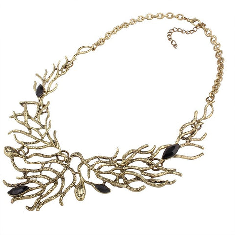 Fashion Gypsy Collier Maxi Statement Necklaces Statement Beads Leaf Tassel Vintage Bohemian Choker Necklace Women Collares
