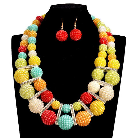 Acrylic Beads Choker statement necklace sets