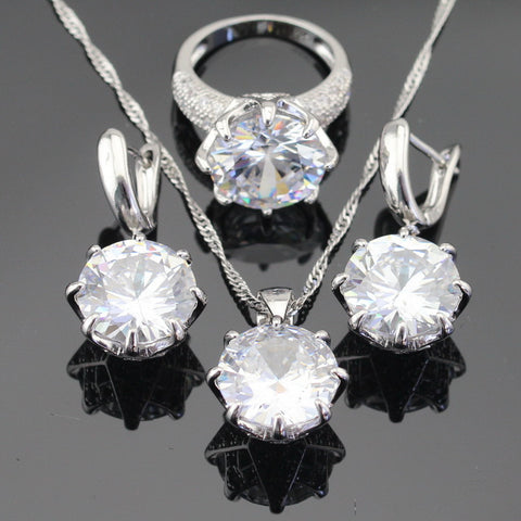 White Green Blue 3 Colors Stones Silver Color Jewelry Sets For Women Necklace Pendant Earrings Rings USA Size Gift Box