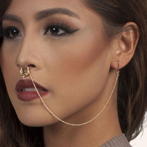 Hot New Design Hollow Nose Rings With Chain Fashion Ear Chain Long Dangle Nose Earrings For Women Unique Body Jewelry