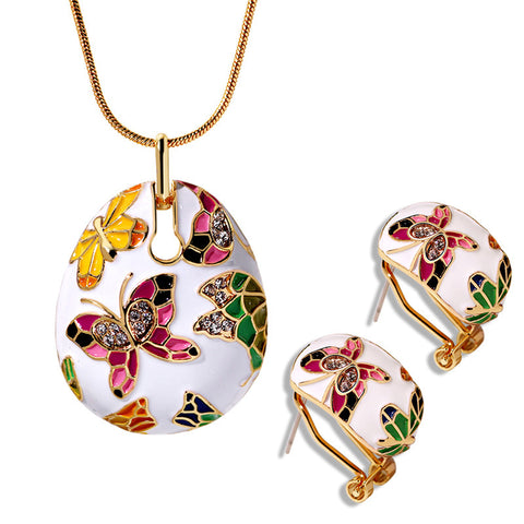 Europe Vintage Enamel Necklace Earrings Jewelry Sets Fashion Butterfly Design Dangle Earrings Jewelry Bridal Wedding Sets