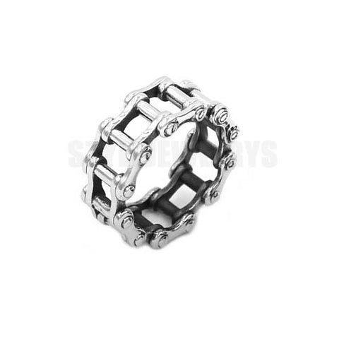 Wholesale Motorcycle Biker Chain Ring Stainless Steel Jewelry Silver Black Bicycle Chain Ring Motor Biker Mens Boys Ring SWR0680