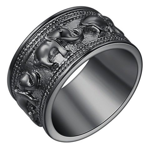 Fashion Jewelry New Vintage Silver Plated Ring elephant lucky black gold color Rings For Men Women Party Engagement Jewelry