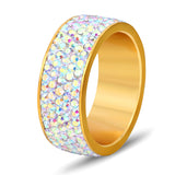 5 Row Crystal Jewelry ping Wholesale Gold Color Stainless Steel Wedding Rings
