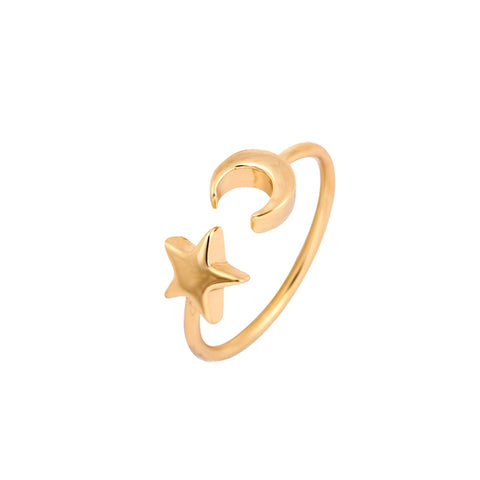 Shuangshuo New Fashon Gold Silver and Rose Gold Color Adjustable Crescent Moon and Tiny Star Rings for Women JZ161