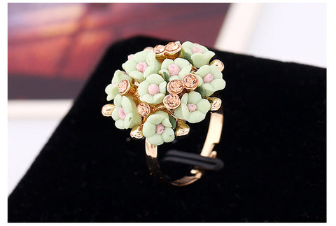 SHUANGR Fashion Beautiful Ceramic Flower Ring for Women Adjustable Wedding Rings Jewelry 7 Colors Style Rings