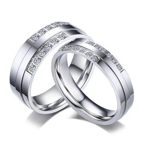 Hot Selling Silver Color Ring Alliance Ring for Women and Men Quality Stainless Steel Couple Ring Cubic Zirconia Wedding Ring
