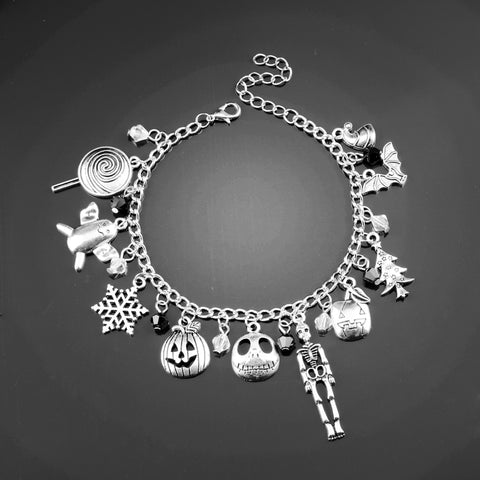 dongsheng The Nightmare Before Christmas Charm Bracelet Halloween Jack Skellington Sally Snowflakes Skull Pumpkin Bracelet -25
