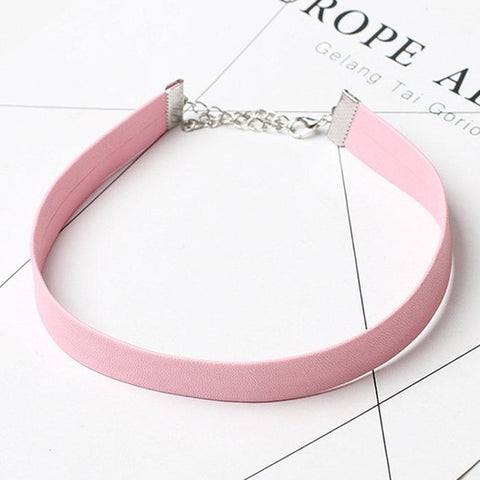 Black Leather Choker Necklace Women Gothic Chokers Necklaces Pink Chocker ketting collares mujer collier ras du cou bijoux