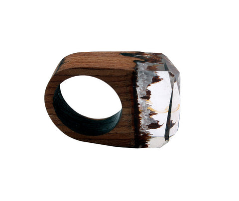 Fashion Women Resin Wood Rings Magic Forest Wooden Ring Men Jewelry Handmade undersea Blue Miniature World Inside Ring