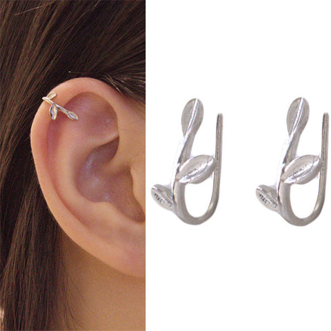 ES334 Brincos Clip Earing boucle d'oreille Leaf Ear Cuff Earrings For Women Jewelry Pendientes Minimalist