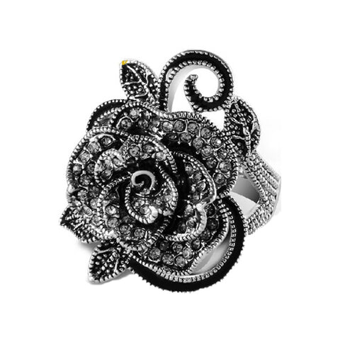 Wholesale retro accessories unique silver plated Rose rings compatible woman