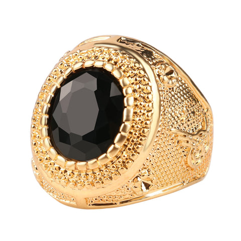 Dubai Gold Color Man Rings Vintage Jewelry Black Red Ancient Word Engraving Resin Tibet Alloy Wedding Rings For Men