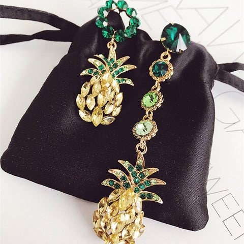 Statement Fashion Jewelry Boucle D'oreille Attractive Shiny Rhinestone Pineapple Asymmetry Earrings For Women