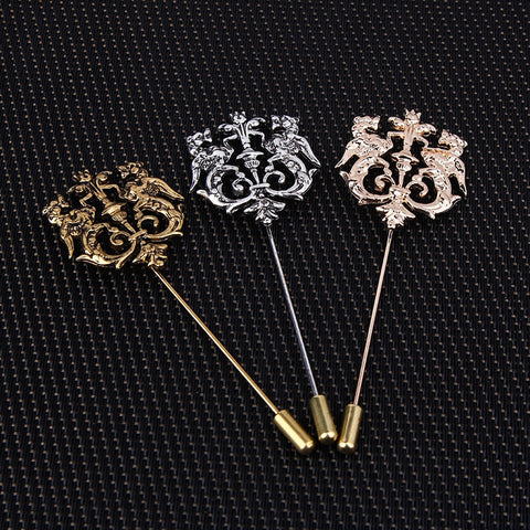 Bronze Gold Silver Tone Classic Hollow Double Lion Lapel Pins For Men Suit Accessories Stick Brooch Pins Wedding Party Jewelry