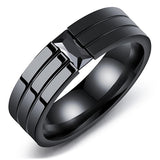 Personality CZ Crystals Titanium Steel Men's Rings Gun Plated Black Zircon Single Ring For Men Gifts Vintage jewelry