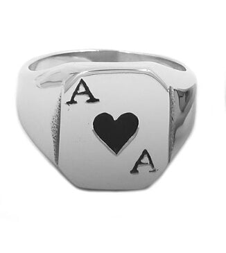 Ace of Spades Ring Stainless Steel Jewelry Classic Spades Red Heart Motor Biker Ring for Men Women Wholesale
