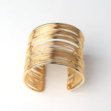 1PC Ethnic Indian Gold Color Open Cuff Bracelets Bangle For Womens Men Vintage Multilayer Hollow Out Bracelet Hand Jewelry B5