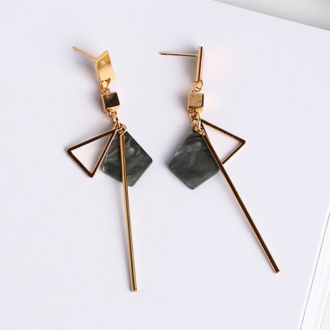 Simple Temperament Geometry Earrings Hollow Triangle Alloy Strip Dangle Pendientes Earrings For Women Brincos