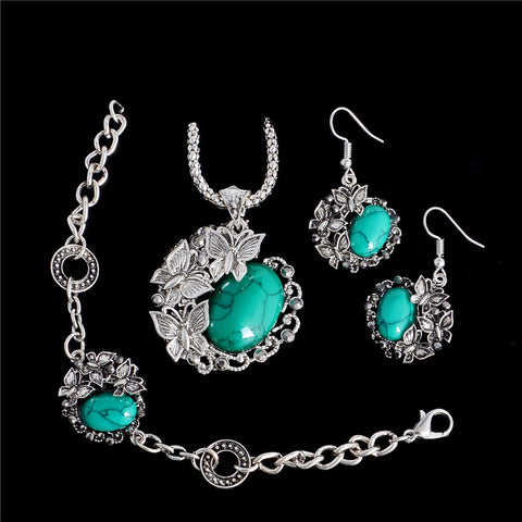 H:HYDE 4 Color Vintage Jewelry Set Butterfly Charm Natural Stone Pendant Necklace Earrings Bracelet Jewelry For Woman