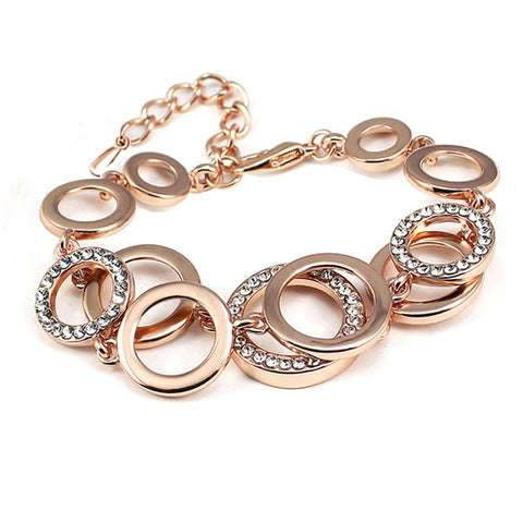 New Fashion Charm female Rose gold plating Multilayer symmetry Circle link Rhinestones Bracelets Weddings for women personality