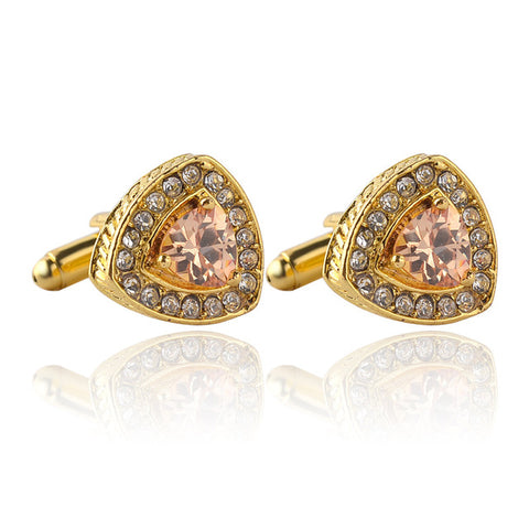 New jewelry selling high-grade crystal Men's enamel luxury cufflink Rhinestones French cuff gold color cufflinks Zircon