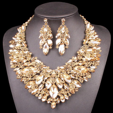 Beautiful Leaf Indian Jewellery Bridal Jewelry Set Gold Color Rhinestone Party Wedding Prom Necklace Earring Set Gift For Women