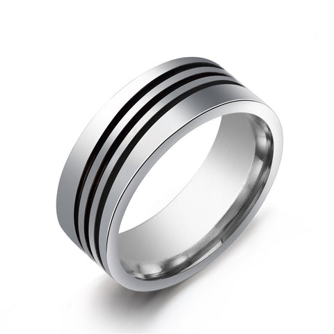 8mm Triple layer Stripe Rotation rings 316L Stainless Steel men finger ring wholesale lots