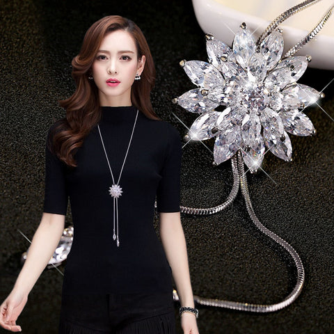shipping! Fashion elegant sweater chain long crystal snow pendant water accessories long decoration necklace jewelry