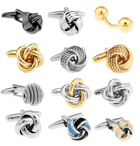 shipping Metal Knot Cufflinks gold color knot design hotsale copper material cufflinks whoelsale&retail