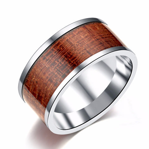 Men's Simple and Elegant 10mm Stainless Steel Ring with Wood Design Men