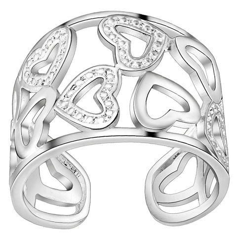 925 jewelry Silver Plated Ring Charming Rose Wedding Rings For Women Valentine's gift PJ274