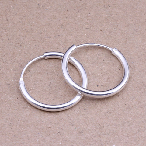 Round Hoop Earrings Genuine 925 Silver 14mm,16mm, 18mm, 20mm for Men Trendy Circle Earrings Thick than Normal One
