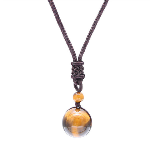 Handmade Natural 16mm Black Obsidian Glod Obsidian Tiger Eye Stone Pendant Transfer Lucky Amulet Crystal Pendant Necklace 1390