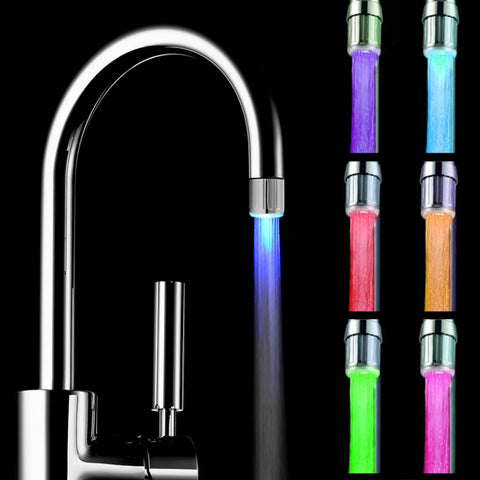 Horsten Novelty 7 Colors Change LED Water Faucet Stream Light Automatically Changing Glow Shower Tap Swivel For Kitchen Bathroom