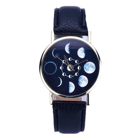Watch Women Ladies Luxury Lunar Eclipse Pattern Casual Leather Band Analog Montre femme Clock Female Quartz Wrist Watch