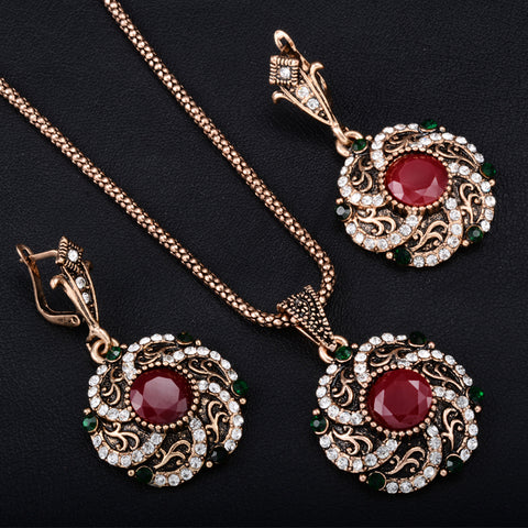 Gorgeous Turkey Bridal Jewelry Sets For Women Vintage Look Red Resin Necklace Earrings Set Gold-Color Flower Love