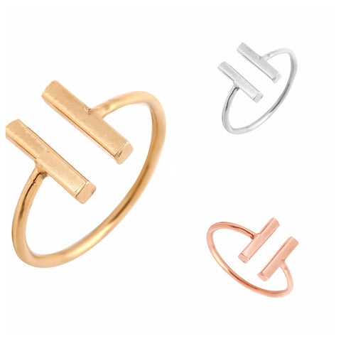 Oly2u New Fashion Simple Double Bar Adjustable Ring Midi Ring for Women -R115