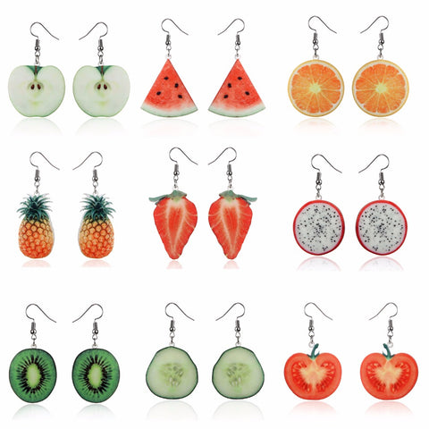 Fruit earrings Food Dangle Strawberry Earrings for women girl Female Acrylic Watermelon Earring Tomato Kiwi Orange Jewelry