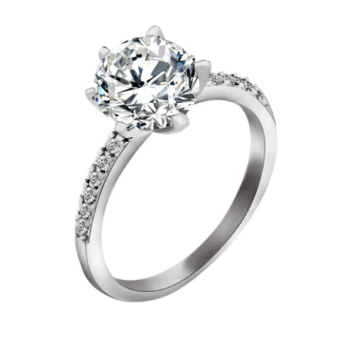 Classic Engagement Ring 6 Claws Design AAA White Cubic Zircon Female Women Wedding Band CZ Rings Jewelry