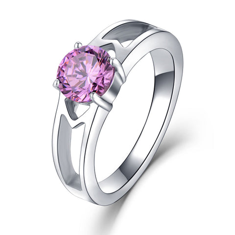 WAWFROK Fashion Red White Blue And Purple Pink Colour Rings For Women 316L Stainless Steel Cubic Zirconia Wedding Ring