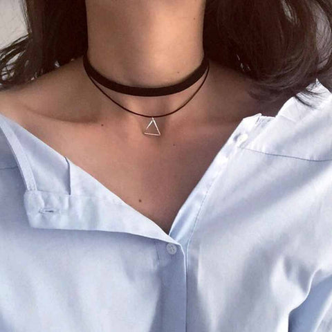 FAMSHIN Multilayer Chokers Necklaces For Women Triangle Geometric Pendant Necklace Collares Fashion Jewelry Colar