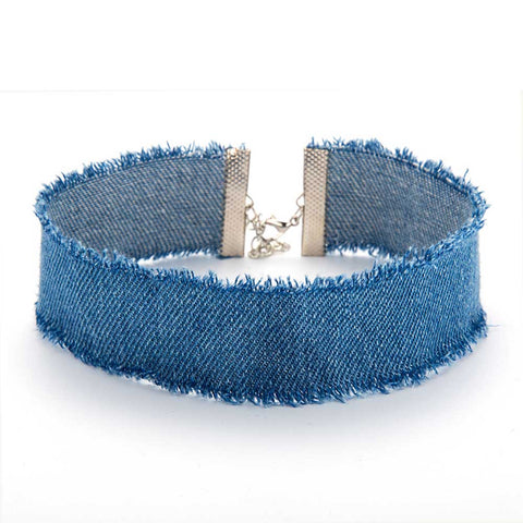 FAMSHIN New Stylish Width Blue Denim Choker for Women Vintage Punk Distressed Jeans Chokers Necklace Chain Jewelry Collier