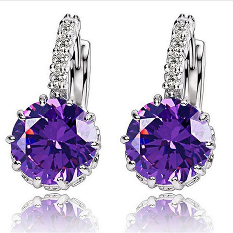 H:HYDE High Quality Silver-color CZ Zircon Earring For Women Fashion Wedding Earrings 9 Colors Jewelry Brincos Pendientes