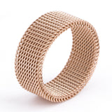 shipping Rose Gold Circle Woven Mesh Rings For Women Men Jewelry High Quality Stainless Steel Wedding Rings For Friends Gift
