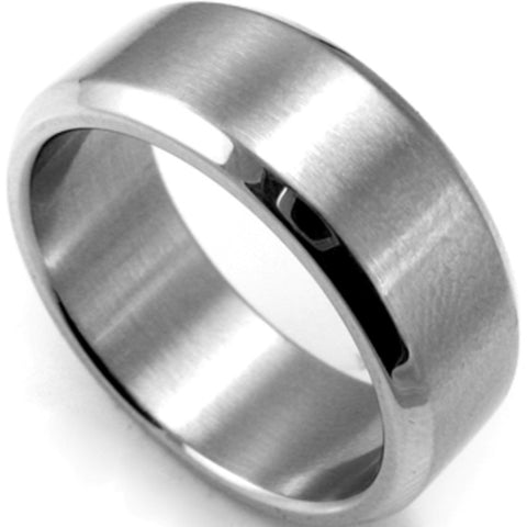 7-15 and Half Sizes 8MM Silver 316L Stainless Steel Brushed Matte Classic Plain Simple Band Ring Wedding Engagement Husband