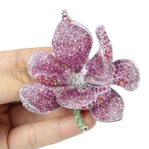 Bella Fashion Pink Orchid Flower Brooch Pins Austrian Crystal Rhinestone Brooches For Women Accessory Party Jewelry Gift