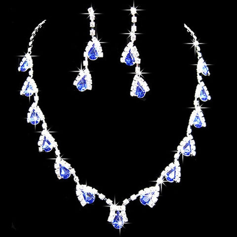 Women Dazzling Cubic Zirconia Necklace Crystal Pendant Earrings Bridal Jewelry Set