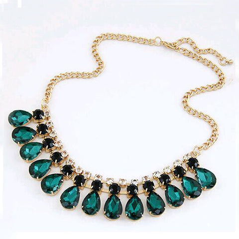 IPARAM 2015 new jewelry green crystal necklace and pendant high necklace