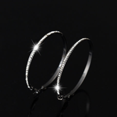 YFJEWE New Fashion Elegant 5.5cm Diameter Crystal Beaded Hoop Earrings For Women Party Earrings Jewelry For Women E080